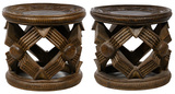 African Bamileke Style Carved Wood Stools