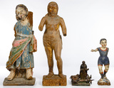 Spanish Colonial Primitive and Folk Art Carved Wood Assortment