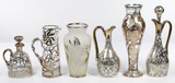 Alvin and Gorham Clear Glass and Sterling Silver Overlay Assortment