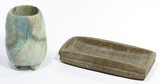 Pre-Columbian Mayan Style Jadeite Jade Tripod Vase