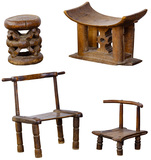 African Carved Wood Stool / Chair Assortment