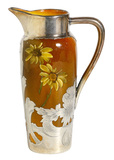 Charles Dibowski for Rookwood Pottery Pitcher with Gorham Sterling Silver Overlay