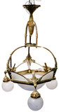 Art Deco Brass and Frosted Glass Chandelier