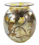 Art Glass Vase with Fine Silver Overlay