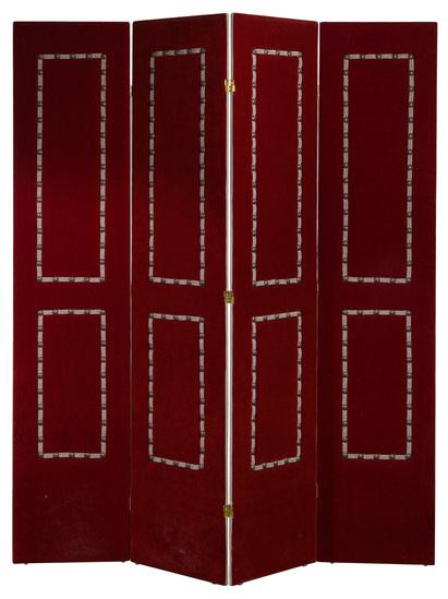 Red Velvet Upholstered Screen / Room Divider