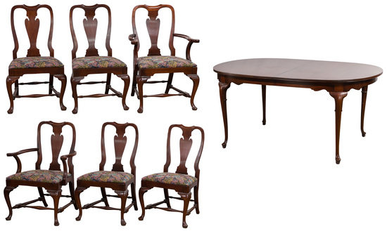 Queen Anne Style Dining Table and Chair Collection