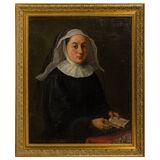 Unknown Artist Oil On Burlap Portrait