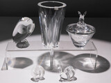 Steuben and Baccarat Crystal Figurine and Vessel Assortment
