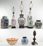 Asian Lamp and Ceramic Assortment