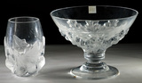 Lalique Crystal 'Hedera' Vase and 'Olonne' Compote