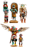 Native American Indian Kachina Signed Carved Wood Assortment