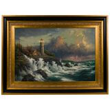 Thomas Kinkade (American, 1958-2012) 'Conquering the Storms' Offset Lithograph on Canvas