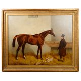(Attributed to) Harry Hall (c.1814-1882) 'Racehorse and Trainer' Oil on Canvas