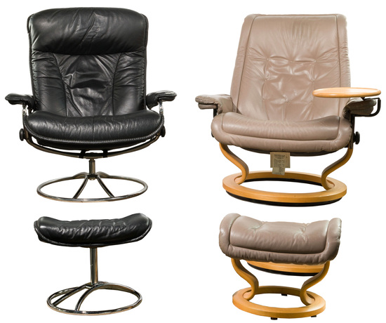 MCM Ekornes Stressless Upholstered Leather Chairs and Ottoman Sets