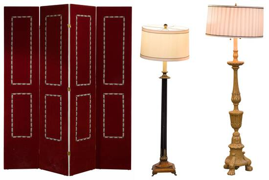 Red Velvet Upholstered Screen / Room Divider