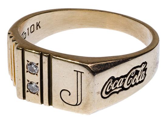 10k Yellow Gold and Diamond 'Coca-Cola' Signet Ring