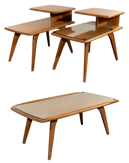 Heywood Wakefield Yellow Birch End and Coffee Table Assortment