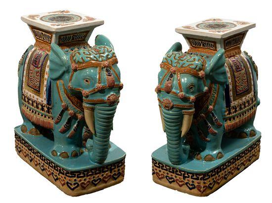 Asian Ceramic Elephant Form Plant Stands