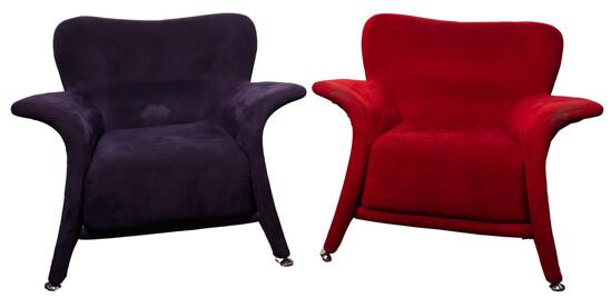 ISA Bergamo Style Upholstered Armchairs