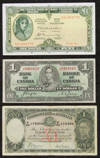 Canada 1937 $1, Australia 1938 One Pound, Ireland 1975 One Pound XF-40/VF-20/XF-40