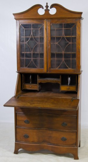 Federal Style Walnut Stained Secretary Book Case