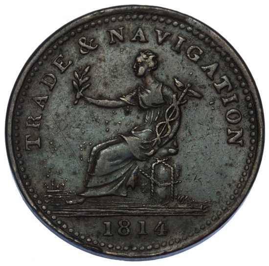 Canada: 1814 One Penny Token F Details