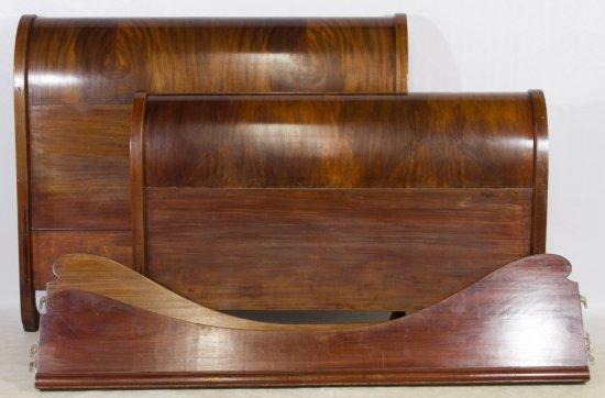 Burled Mahogany Sleigh Bed Frame