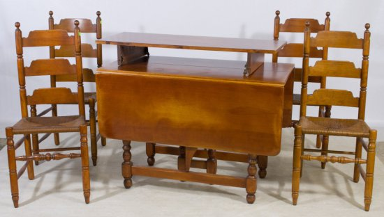 Early American Maple Dining Table with Chairs