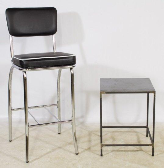 Bar Stool and Metal Table