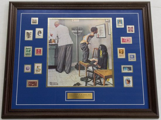 Wood Framed Norman Rockwell Print with Stamps