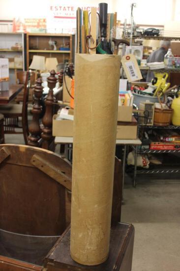 Tub Lot of Yard Stick, Umbrella, Walking Stick