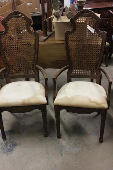 Pr of Arm Chairs With Cane Backs