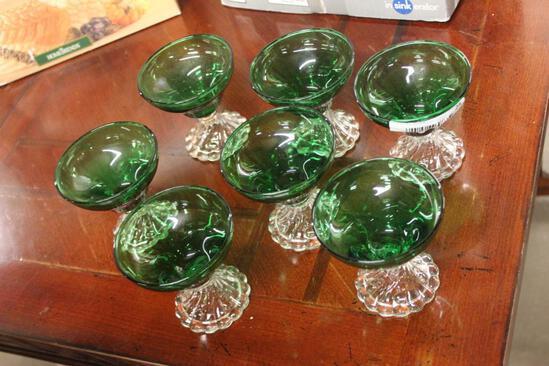 Set of 7 Forest Green Sherbet Glasses