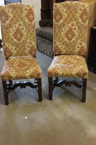 PR OF HI-BACK UPHOLSTERY CHAIRS