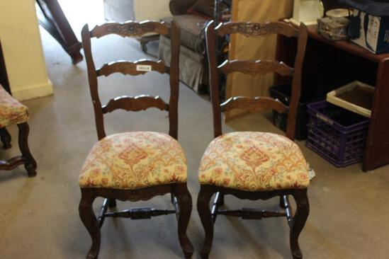 MATCH PR OF OAK CHAIRS W/UPHOLSTERY SEATS & LATCH IN BACK
