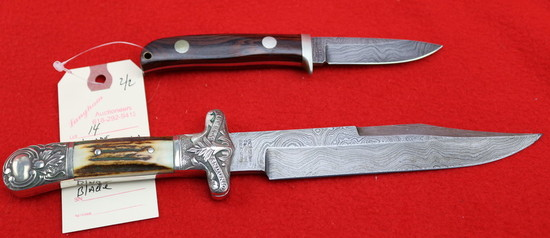 (2) Benchmade Tak Fukuta Fixed Blade Damascus Knives