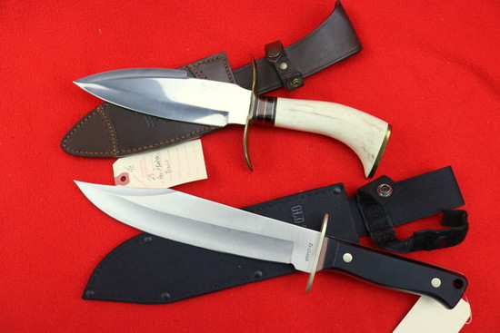 """(2) Fixed Blade Bowie Knives: Schrade """"Old Timer"""" And Hen And Rooster"""