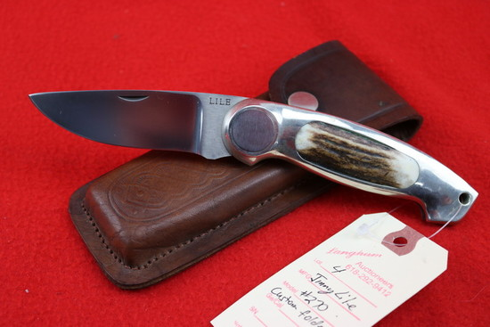 Jimmy Lile Custom #270 Stag Button Lock Knife