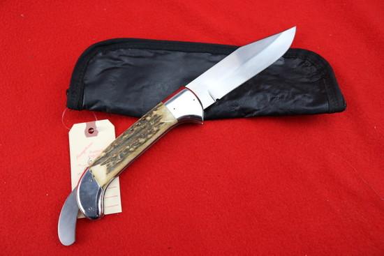 C. A. West Locking Folder Stag Knife