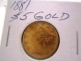 1881 $5.00  Gold Piece Coin