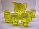 Mosser Glass Pitcher & 6 Glasses