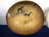 Native American With Horses Composition Bowl