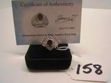 Mozambique Garnet & White Sapphire Silver Ring