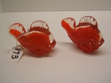Leftons Pair of Glass Red Fish