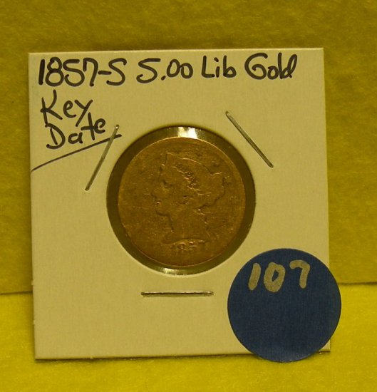 1857-S FIVE DOLLAR LIBERTY GOLD PIECE - KEY DATE