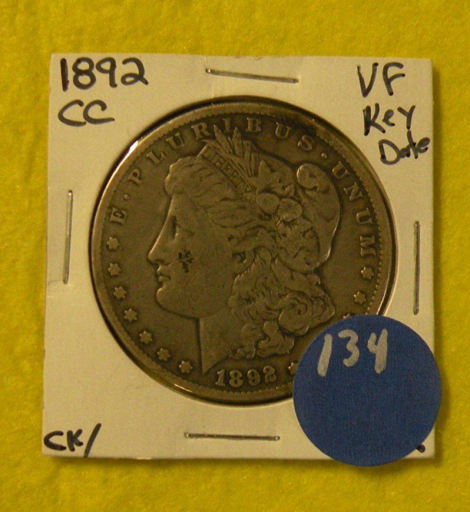 1892-CC MORGAN SILVER DOLLAR - KEY DATE