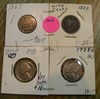 1867 SHIELD, 1883 V W/CENTS, 1938-D, 39-D JEFFERSON NICKELS - 4 TIMES MONEY