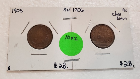 1905, 1906 INDIAN HEAD CENTS - 2 TIMES MONEY