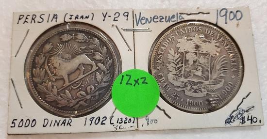 1900 VENEZUALA, 1902 PERSIA COINS - 2 TIMES MONEY