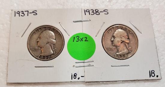 1937-S, 1938-S WASHINGTON QUARTERS - 2 TIMES MONEY